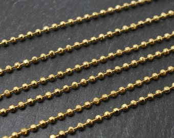 N0015/Anti-Tarnished Gold Plating Over Brass/2mm Cutting Ball Chain/2mm/1yard