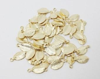P0010/Anti-Tarnished Matt Gold plating over Brass/Tiny leaf charm /5.5x 11mm/8pcs