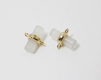 P0260/Anti-Tarnished Gold Plating Over Brass+White Glass/Cylinder Glass Charm Connector/9x 5.mm/2pcs