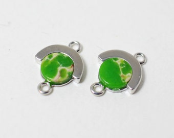 P0293/Anti-Tarnished Rhodium Plating Over Brass + Dyed Jade Stone/Circle Shape Light Green Stone Pendant Connector/11x 14mm/2pcs
