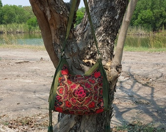 Bohemian Gypsy Hippie Bag Miao Vintage Tribal Fabric and Green Leather