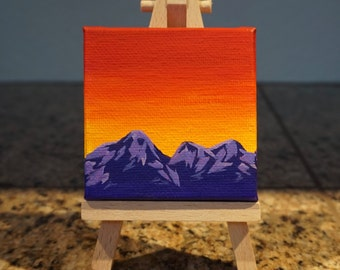 Mini Easel Canvas Acrylic Painting Red Sunrise Mountains