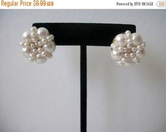 ON SALE Vintage Elegant Faux Pearls Cluster Earrings 70816D