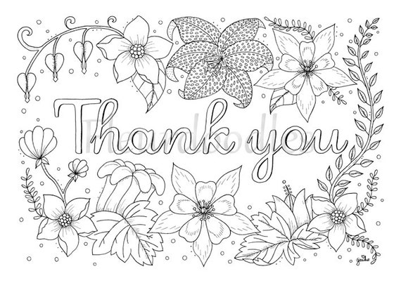 adult coloring page Thank you printable download