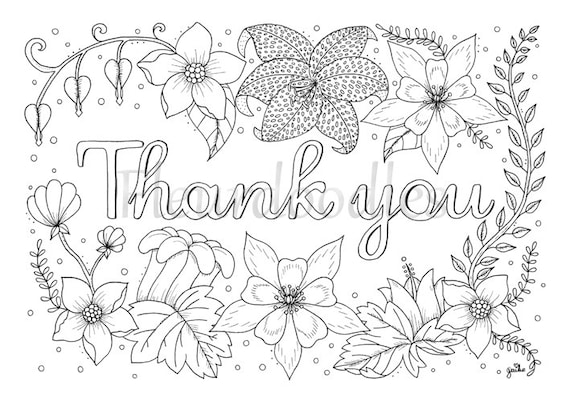 Adult Coloring Page   Thank You   Printable Download, Colouring Pages  Floral Coloring Book, Love Gifts, Mandala Hand Drawn Cards Lettering