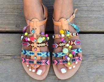 "Genuine leather gladiator sandals ""Andromeda"" with friendships,Gemstones, crystals &tassels"