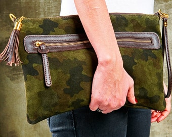 Green Camouflage Suede Clutch; Suede Clutch; Camouflage Clutch with Tassel; Handmade Clutch