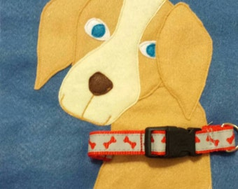 Ready to ship! Puppy buckle collar  quiet book page. Toddler infant Christmas gift toy