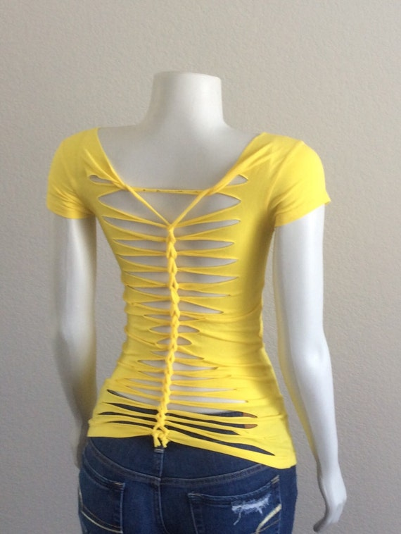 Yellow cut up t shirt inspired by adam saaks for Cut and design t shirts