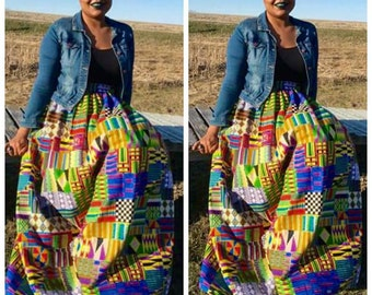 Maxi Skirt, Ankara, Multi Color Kente