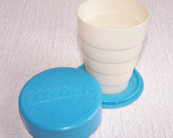 Vintage Folding Cup. Pastic Collapsible Cup for Cold Drinks. Retro Soviet Travel Cup. Camping Cup Made in the USSR.