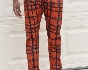Men African ankara pant black and orange ankara print