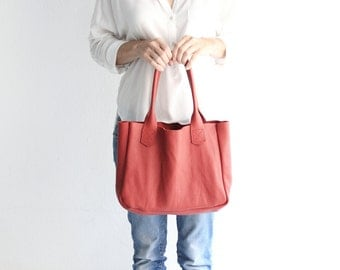 Lily Tote BAG, nappa leather TOTE bag, red