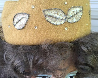 Vintage mustard colored mohair hat with sequins and art deco design