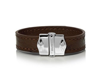 D'Monti Paris Brown Mothers Day Gift Ideas - France Custom Luxury Exotic Real Ostrich Leather Mens Womens Unisex Single Cuff Bracelet