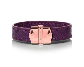 D'Monti Bordeaux Purple Gift Ideas - France Luxury Genuine Real Ostrich Leather Mens Womens Unisex Single Cuff Custom Bracelet
