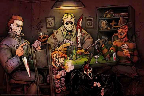 Slashers playing poker poster michael myers freddy krueger - Pictures of freddy cougar ...