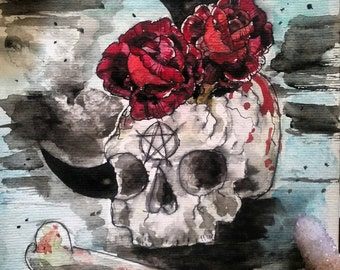 Skull and roses watercolor painting 🌙