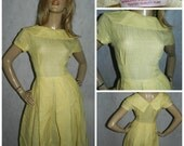 Vintage Original 1950s LEMON YELLOW Semi SHEER Box pleated tea dress 8-10 50s Rockabilly Bombshell Mid century