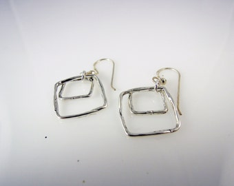 Sterling SIlver-Hammered-Square-Earrings-for her