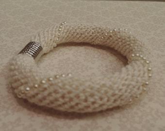 Handmade crochet beaded white linen bracelet