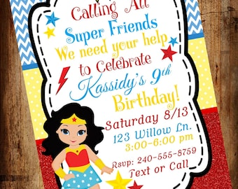 Girl Super Hero Party Invites, Wonder Girl, Wonder, Woman Birthday Invitation, Super Hero Birthday,  (Digital File)