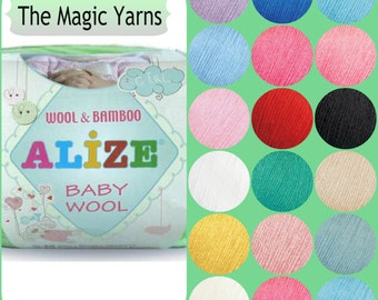 Baby Wool  Antibacterial yarn by Alize,Natural yarn, baby yarn,Wool Bamboo mix,Wool, Bamboo , sport,light weight, 4 ply,white, green ,blue,