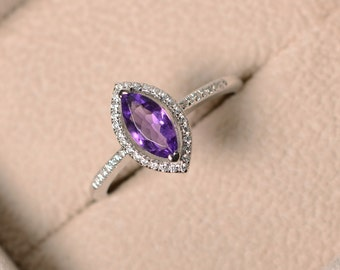 Purple amethyst ring, marquise cut, engagement, silver, February birthstone