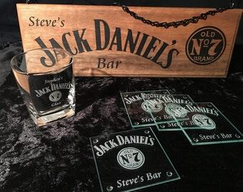 Personalised Jack Daniels Kit - Bar Sign, Set Of 4 Coasters, & 1 Glass