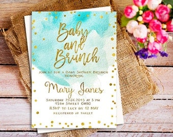 Baby Shower Brunch Invitation, A Brunch For Baby Invitation, Blue  Watercolor Baby Shower Invitation