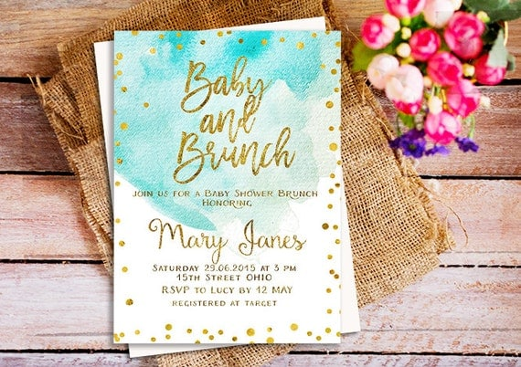 baby shower brunch invitation a brunch for baby invitation blue