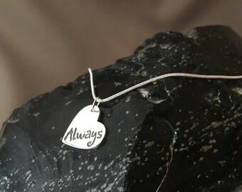 "Fine Silver ""Always"" Heart Pendant Necklace"