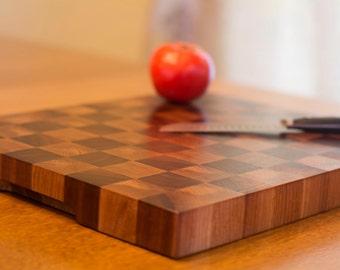 Wood Cutting Board, Walnut and Oak Wooden Checkerboard Design