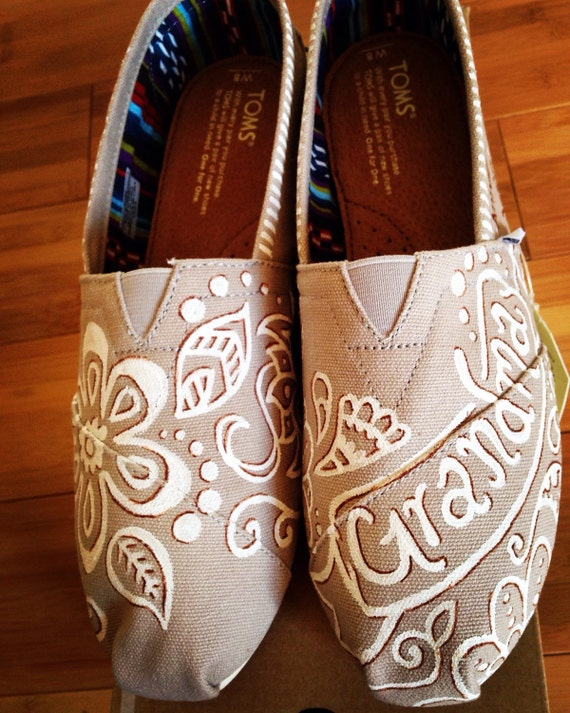 custom painted toms canvas shoes by bellalaceboutique