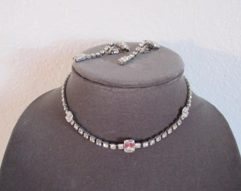 Vintage Stunning Rhinestone Necklace with Clip Rhinestone Earrings