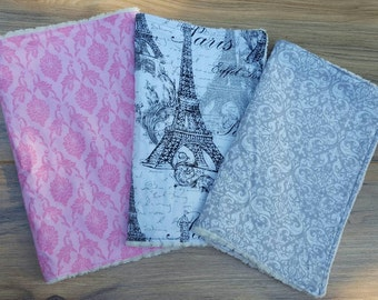 Eiffel Tower Boutique Burpcloths-baby shower, baby gift, baby girl burp cloth, Pink & grey damask,ready to ship