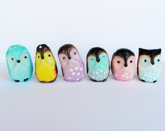 """collectible polymer clay owls  """" Pastel Collection"""" cute owl totem"""