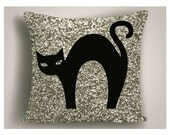Halloween Pillow with Black Cat and Glitter, Halloween Pillow Covers, Halloween Decorations,  Large Halloween Throw Pillows