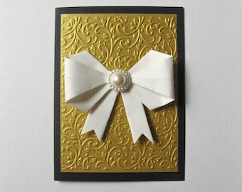 Luxurious Black Gold Paper Handmade Card Invitation Paper Ribbon Embossed Paper Golden