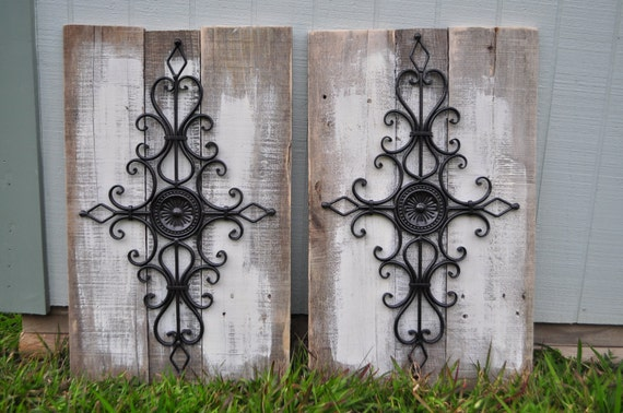 Wood Scroll Wall Decor : Rustic wall decor reclaimed wood whitewashed with deep brown
