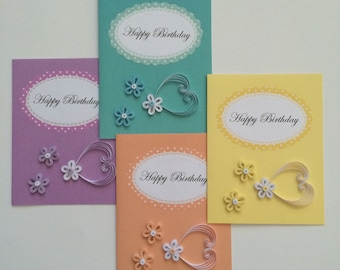 Happy Birthday Quilled Cards -set of 4