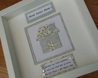 New Home, Housewarming, Handmade Personalised Wall Art, Box Frame, Family, Picture, GIFT Keepsake, Present