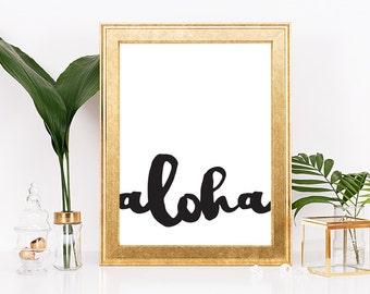 Aloha Sign, Aloha Print, Printable Aloha Wall Art, Tropical Print, Aloha Prints, Tropical Wall Decor, Tropical Watercolor Hawaiian Artwork