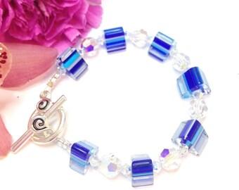 Cane Glass & Swarovski Crystal bracelet