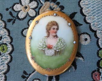 Vintage Porcelain Medallion with Portrait of Young Lady, O9