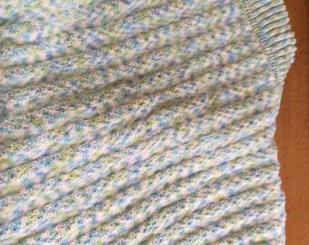 Handknit baby blanket blue green white ocean look boy