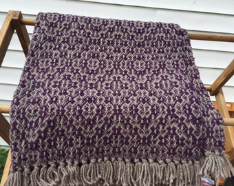 Hand Woven Purple and Gray Wool Lap/Throw Blanket