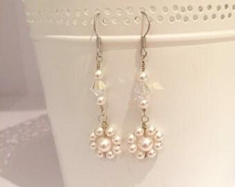 Ellie crystal and pearl earrings