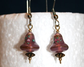 Vintage lamp-worked bead earrings; glass bead earrings; purple earrings