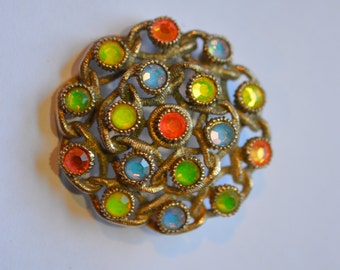 Sarah Coventry Moon Lites rhinestone brooch